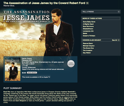 Screenshot from iTunes Store for The Assassination of Jesse James by the Coward Robert Ford.