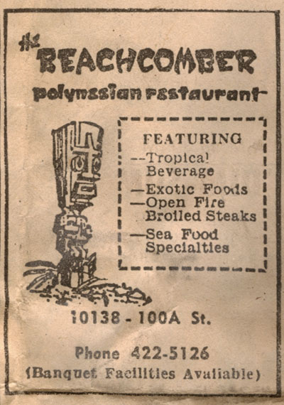 1971 Edmonton Journal Polynesian Restaurant Ad