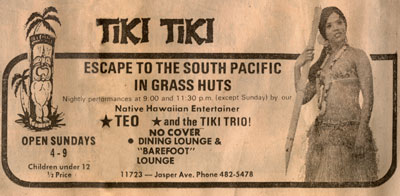 1971 Edmonton Journal Tiki Tiki Restaurant Ad
