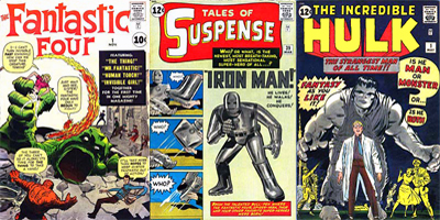 3 Jack Kirby Illustrated Comic Book Covers - Fantastic Four, Tales of Suspense, and The Incredible Hulk