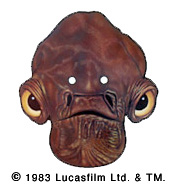 Star Wars Return of the Jedi Admiral Ackbar Halloween Mask Image