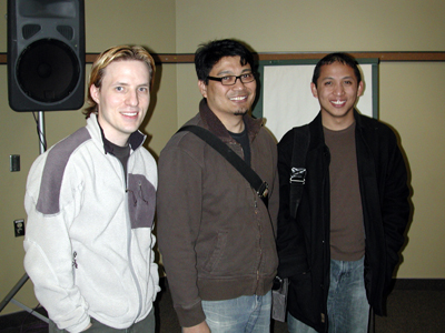 Chad Kerychuk, Ronnie del Carmen, and Ken Bautista at the Banff Centre Photo