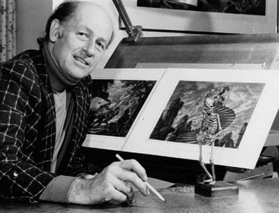 Ray Harryhausen photo with stop-motion skeleton model