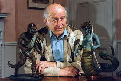 Photo of Ray Harryhausen with stop motion animation models from Clash of the Titans
