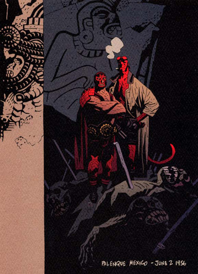 Hellboy Palenque Lithograph by Mike Mignola and Dark Horse Comics