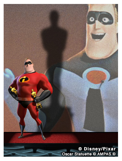 Mr. Incredible accepts 2 Academy Awards