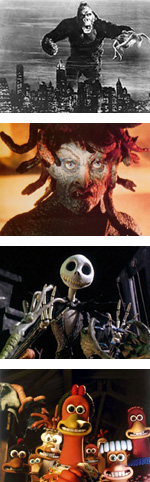 Stop Motion Animation Photo Composition - King Kong, Medusa, Jack Skellington, and Chicken Run
