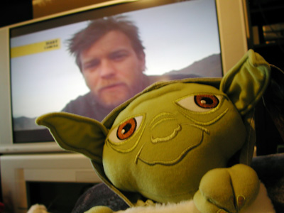 Ewan McGregor on TV and Yoda stocking.