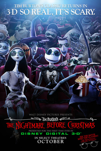 Tim Burton's Nightmare Before Christmas in 3D Poster