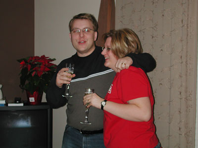 Seventhth Photo of New Year's Eve Celebration in Edmonton, Alberta at John and Cathy Booker's Home.