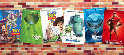 Screenshot of Pixar Animation Studio Movie Posters from Pixar Website