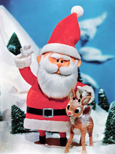 Photo of Rankin/Bass Rudolph the Red-Nosed Reindeer and Santa Claus puppets.
